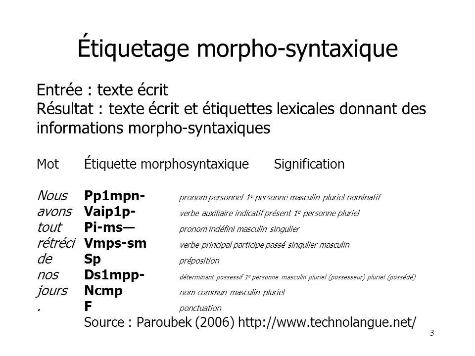 3 Étiquetage morpho-syntaxique Entrée : texte écrit Résultat : texte écrit et étiquettes lexicales donnant des informations morpho-syntaxiques MotÉtiq