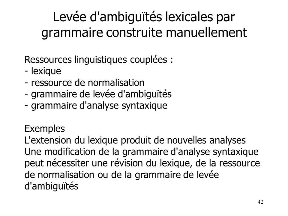 42 Levée d'ambiguïtés lexicales par grammaire construite manuellement Ressources linguistiques couplées : - lexique - ressource de normalisation - gra