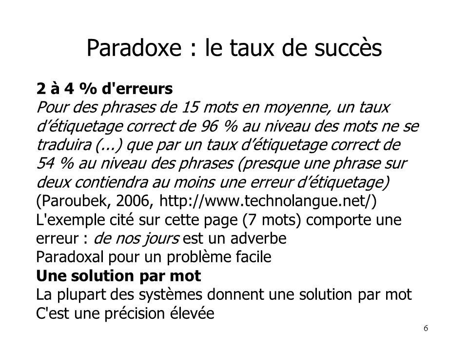 6 Paradoxe : le taux de succès 2 à 4 % d'erreurs Pour des phrases de 15 mots en moyenne, un taux détiquetage correct de 96 % au niveau des mots ne se