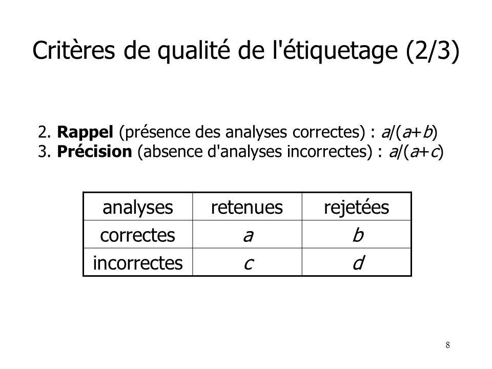 8 Critères de qualité de l'étiquetage (2/3) 2. Rappel (présence des analyses correctes) : a/(a+b) 3. Précision (absence d'analyses incorrectes) : a/(a