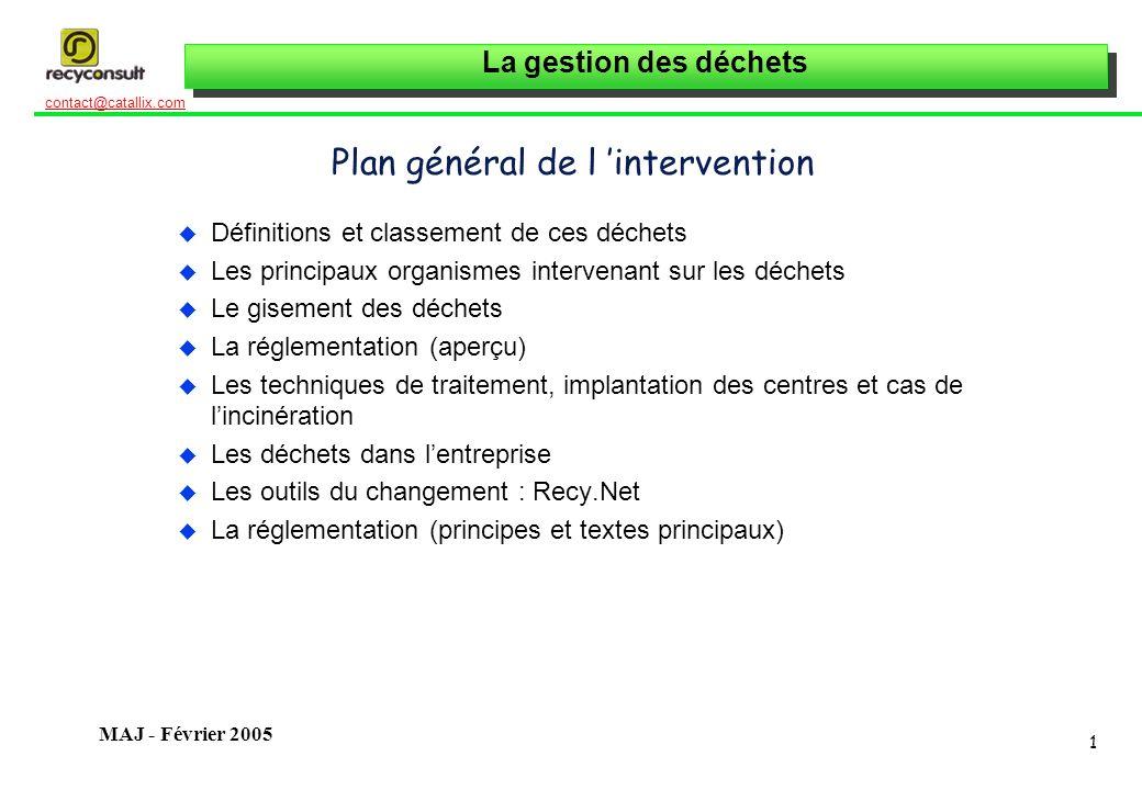La gestion des déchets 1 contact@catallix.com MAJ - Février 2005 Plan général de l intervention u Définitions et classement de ces déchets u Les princ
