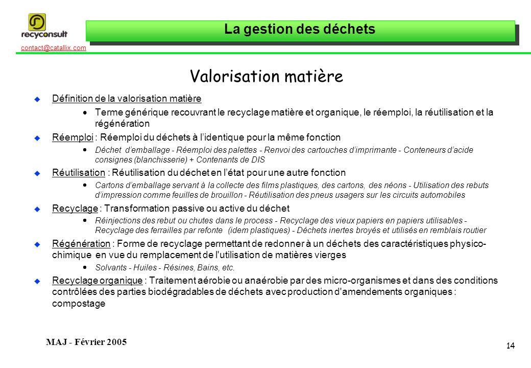 La gestion des déchets 14 contact@catallix.com MAJ - Février 2005 Valorisation matière u Définition de la valorisation matière Terme générique recouvr