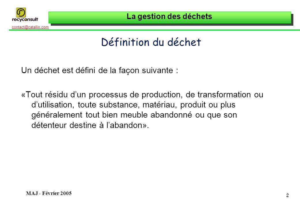 La gestion des déchets 23 contact@catallix.com MAJ - Février 2005 Les déchets dans lentreprise Définir des objectifs et une politique Politique générale Objectifs et délais : maîtrise des coûts, des technologies, etc.