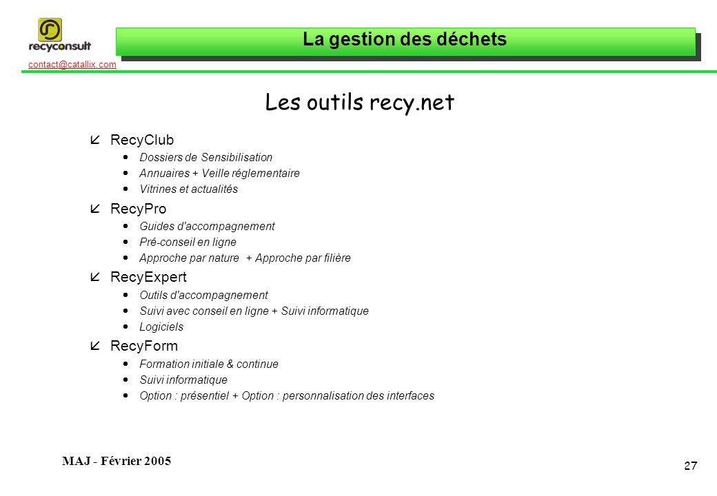 La gestion des déchets 27 contact@catallix.com MAJ - Février 2005 Les outils recy.net åRecyClub Dossiers de Sensibilisation Annuaires + Veille régleme