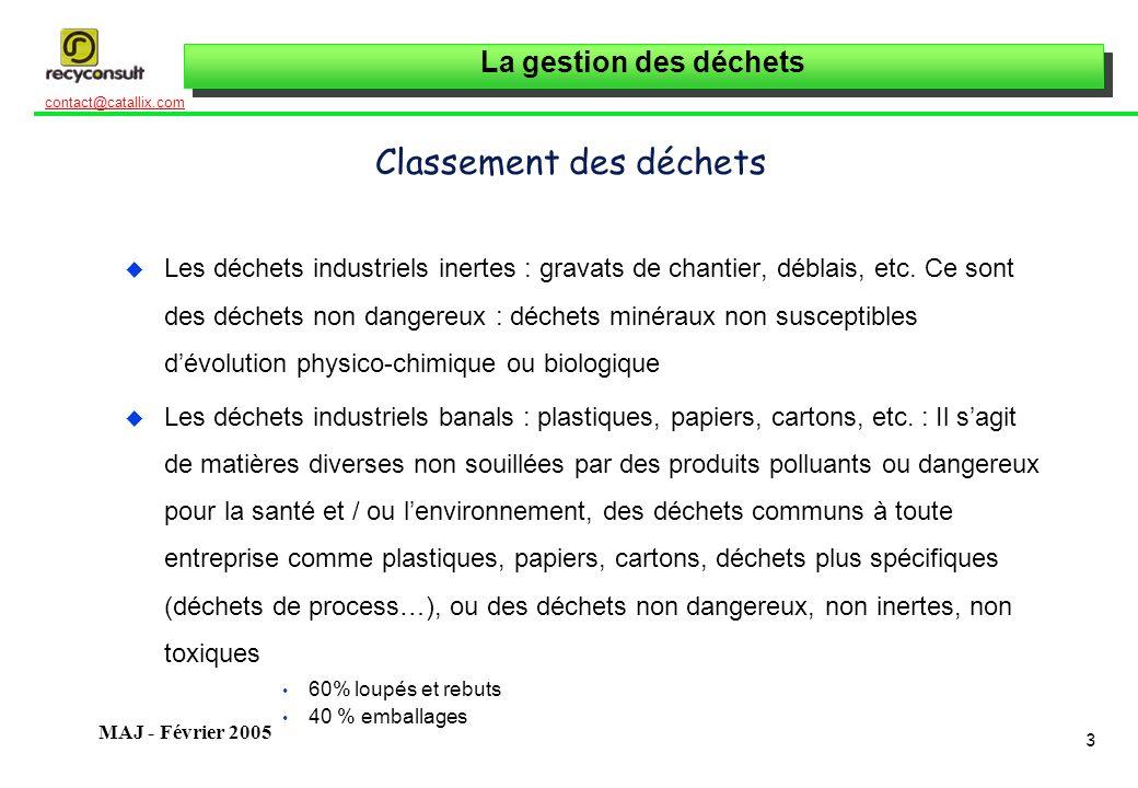 La gestion des déchets 4 contact@catallix.com MAJ - Février 2005 Classement des déchets u Les déchets industriels banals spécifiques : textiles, ferrailles, etc.