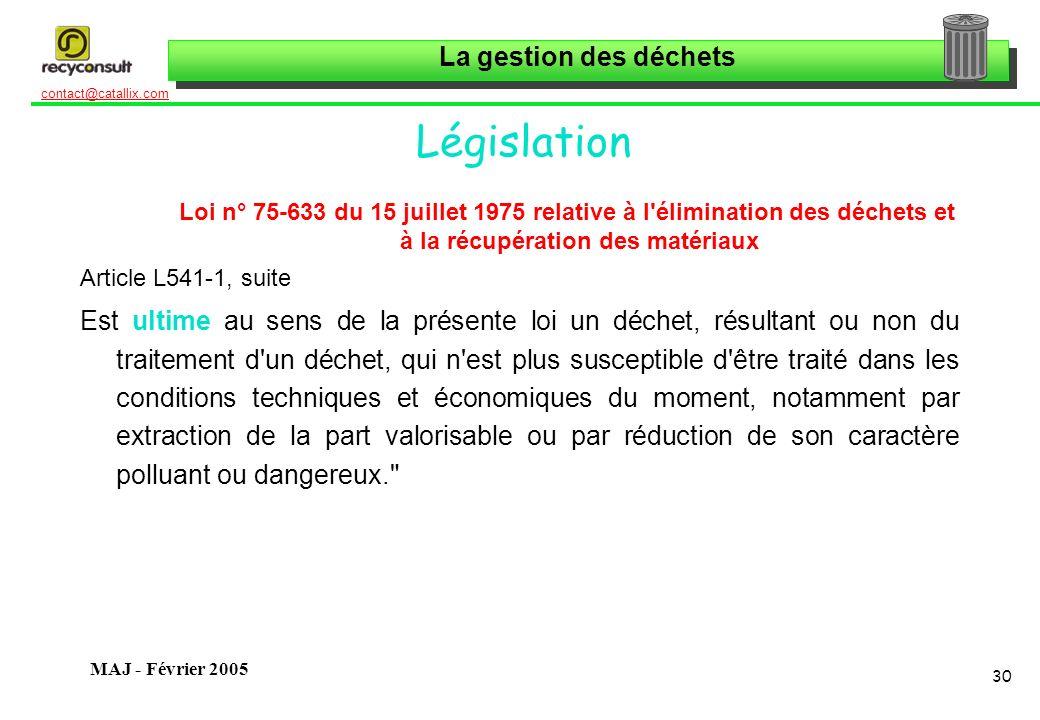 La gestion des déchets 30 contact@catallix.com MAJ - Février 2005 Législation Loi n° 75-633 du 15 juillet 1975 relative à l'élimination des déchets et