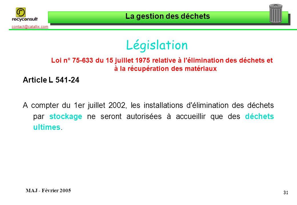 La gestion des déchets 31 contact@catallix.com MAJ - Février 2005 Législation Loi n° 75-633 du 15 juillet 1975 relative à l'élimination des déchets et