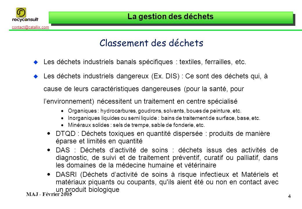 La gestion des déchets 65 contact@catallix.com MAJ - Février 2005 Autres Textes Décret n° 98-638 du 20 juillet 1998 relatif à la prise en compte des exigences liées à l environnement dans la conception et la fabrication des emballages Décret en projet pour lélimination des D3E = déchets déquipements électriques et électroniques (publication de 2 directives européennes, du 13/02/03)