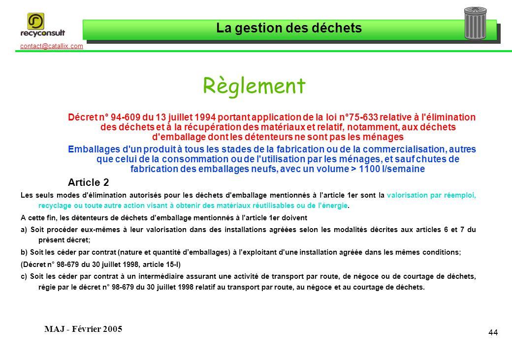 La gestion des déchets 44 contact@catallix.com MAJ - Février 2005 Règlement Décret n° 94-609 du 13 juillet 1994 portant application de la loi n°75-633