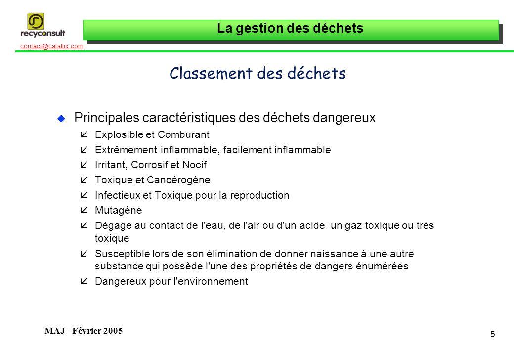 La gestion des déchets 5 contact@catallix.com MAJ - Février 2005 Classement des déchets u Principales caractéristiques des déchets dangereux åExplosib