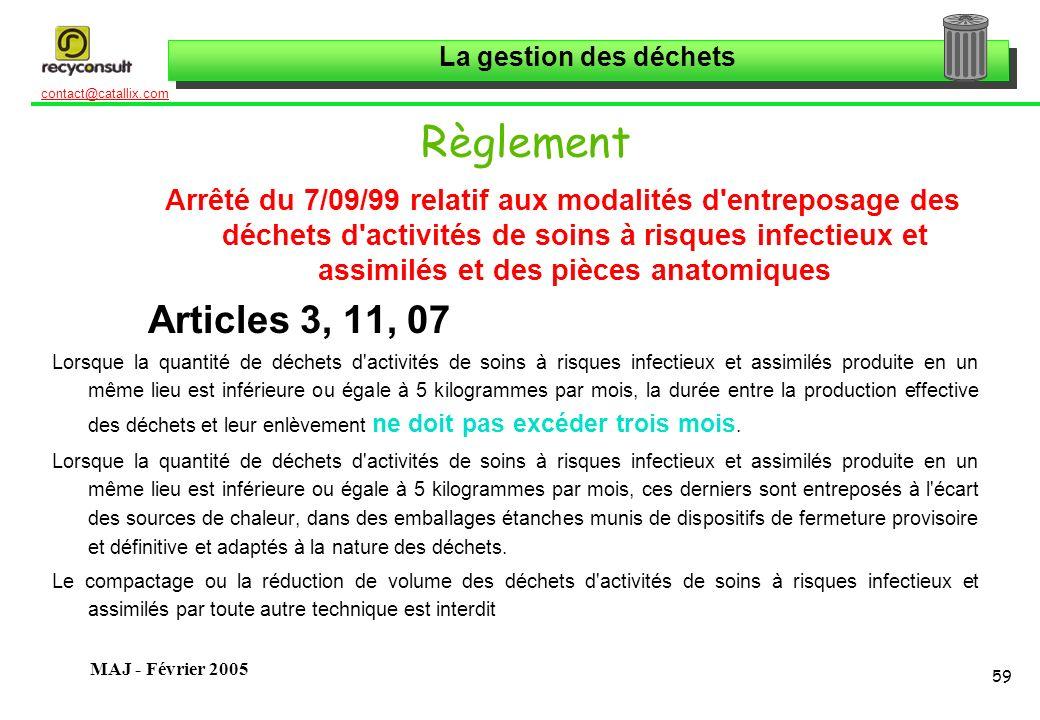 La gestion des déchets 59 contact@catallix.com MAJ - Février 2005 Règlement Arrêté du 7/09/99 relatif aux modalités d'entreposage des déchets d'activi