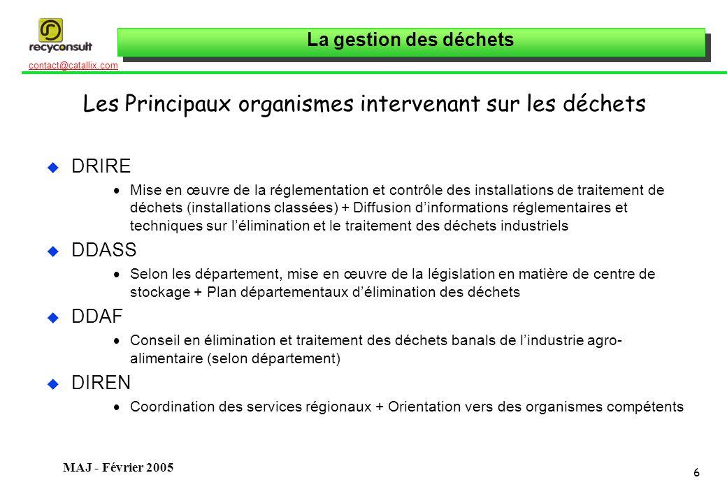 La gestion des déchets 6 contact@catallix.com MAJ - Février 2005 Les Principaux organismes intervenant sur les déchets u DRIRE Mise en œuvre de la rég