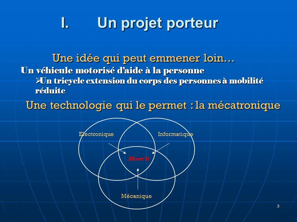 3 Une idée qui peut emmener loin… Une idée qui peut emmener loin… Un véhicule motorisé daide à la personne Un tricycle extension du corps des personne