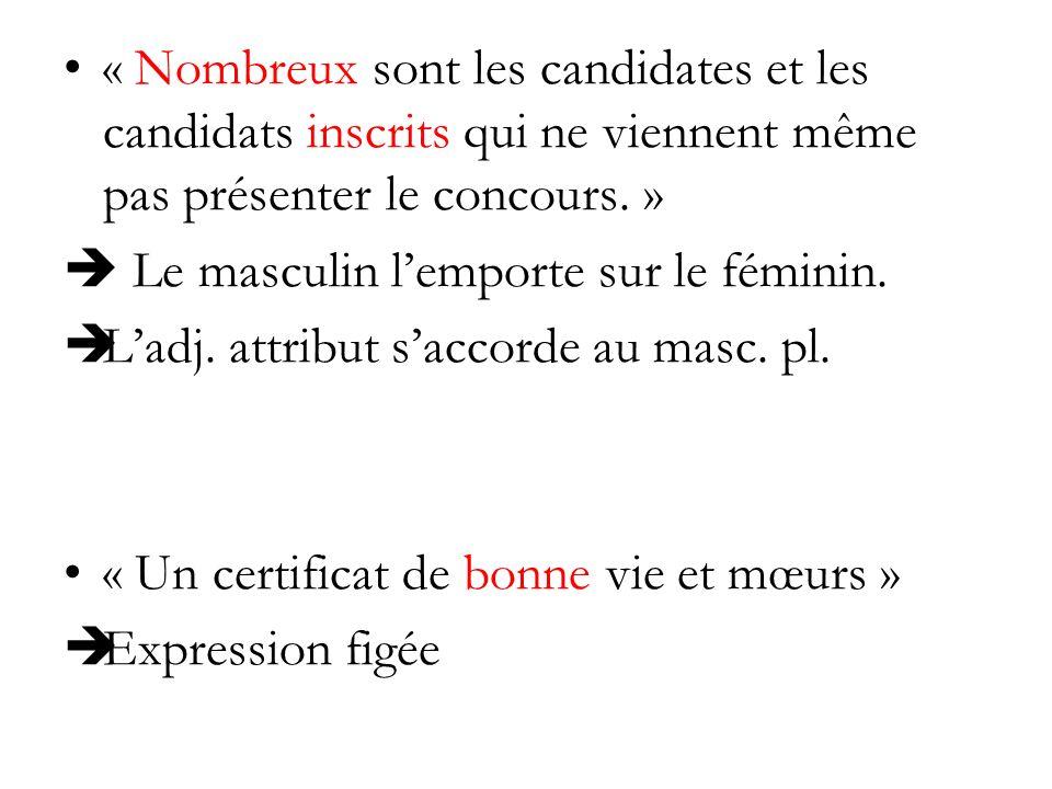« Nombreux sont les candidates et les candidats inscrits qui ne viennent même pas présenter le concours. » Le masculin lemporte sur le féminin. Ladj.