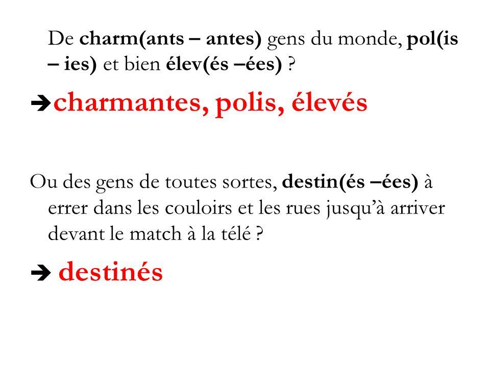De charm(ants – antes) gens du monde, pol(is – ies) et bien élev(és –ées) ? charmantes, polis, élevés Ou des gens de toutes sortes, destin(és –ées) à