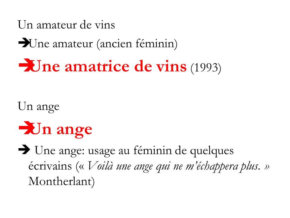 Un amateur de vins Une amateur (ancien féminin) Une amatrice de vins (1993) Un ange Une ange: usage au féminin de quelques écrivains (« Voilà une ange