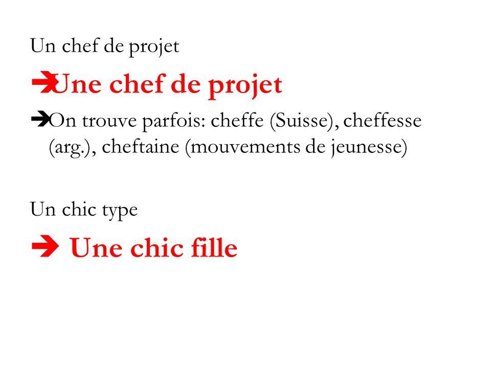 Un chef de projet Une chef de projet On trouve parfois: cheffe (Suisse), cheffesse (arg.), cheftaine (mouvements de jeunesse) Un chic type Une chic fi