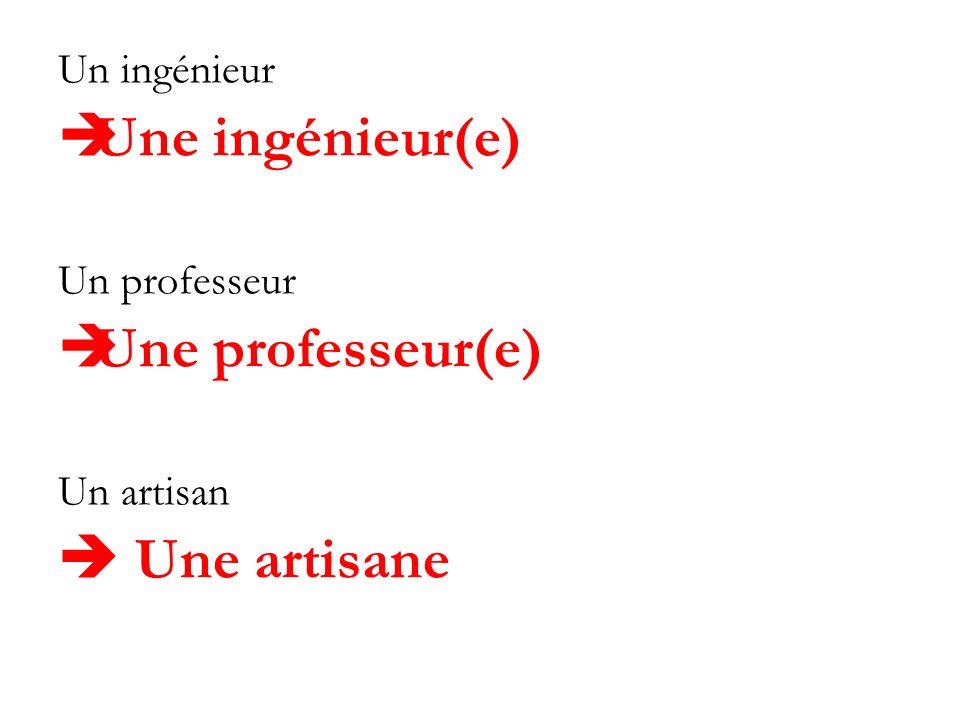 Un ingénieur Une ingénieur(e) Un professeur Une professeur(e) Un artisan Une artisane
