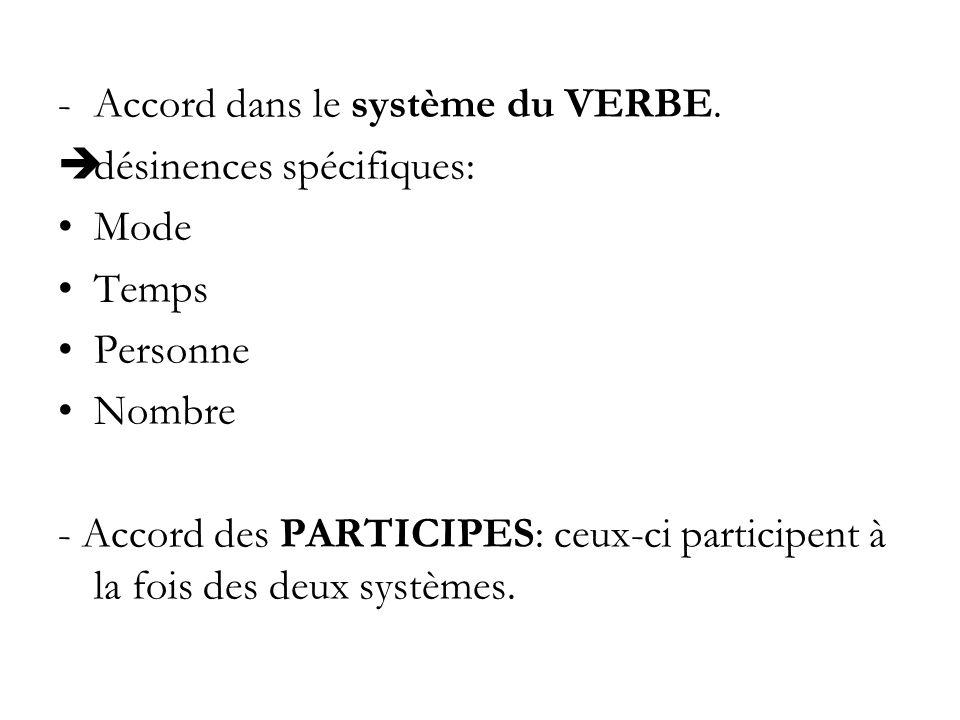 -Accord dans le système du VERBE. désinences spécifiques: Mode Temps Personne Nombre - Accord des PARTICIPES: ceux-ci participent à la fois des deux s