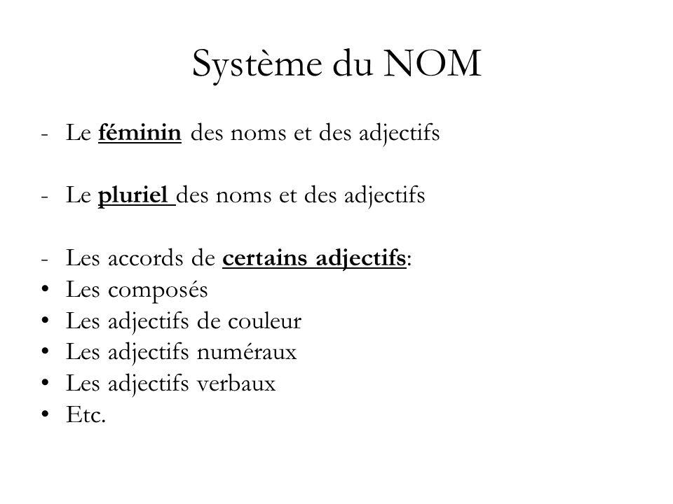Système du NOM -Le féminin des noms et des adjectifs -Le pluriel des noms et des adjectifs -Les accords de certains adjectifs: Les composés Les adject