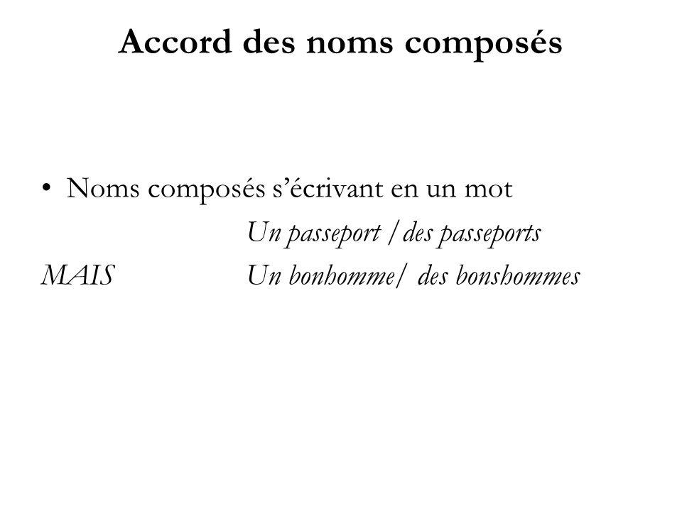 Accord des noms composés Noms composés sécrivant en un mot Un passeport /des passeports MAISUn bonhomme/ des bonshommes
