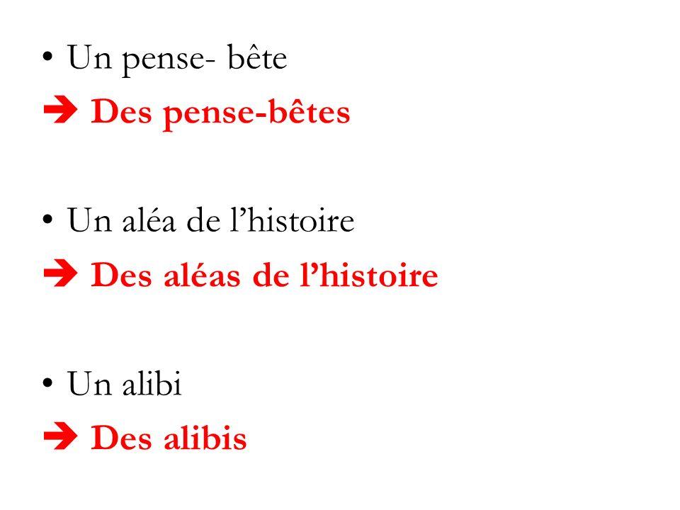Un pense- bête Des pense-bêtes Un aléa de lhistoire Des aléas de lhistoire Un alibi Des alibis