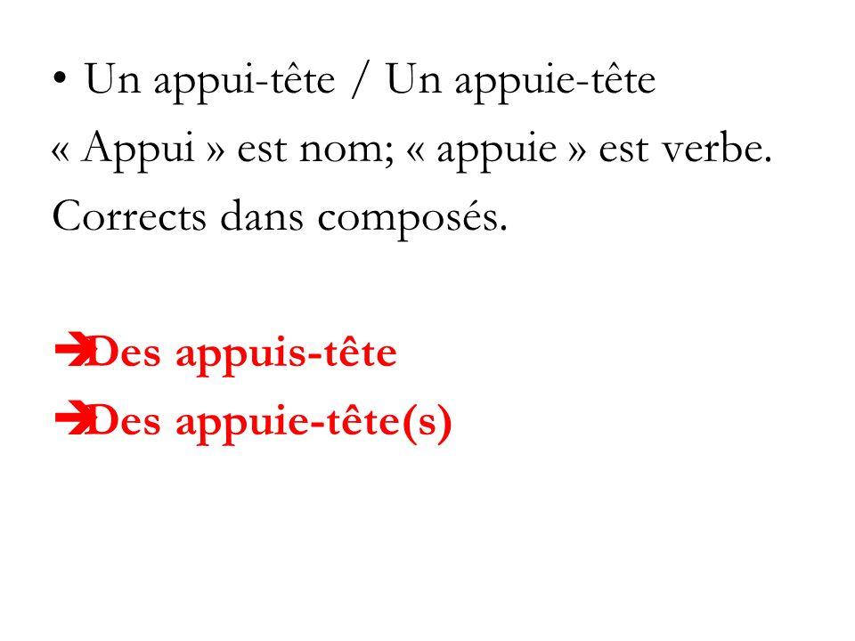 Un appui-tête / Un appuie-tête « Appui » est nom; « appuie » est verbe. Corrects dans composés. Des appuis-tête Des appuie-tête(s)
