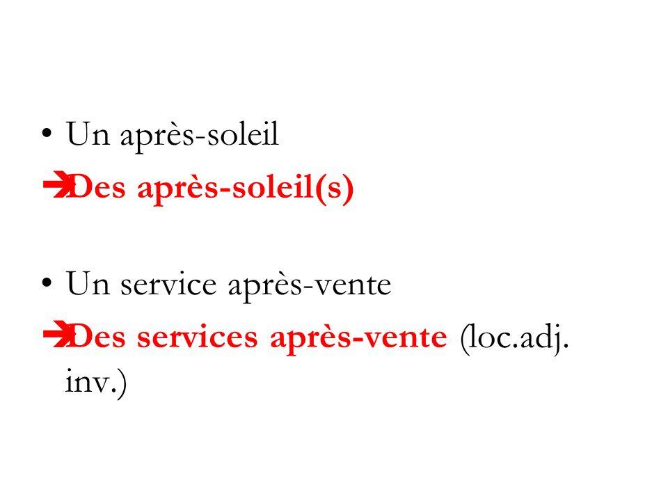 Un après-soleil Des après-soleil(s) Un service après-vente Des services après-vente (loc.adj. inv.)