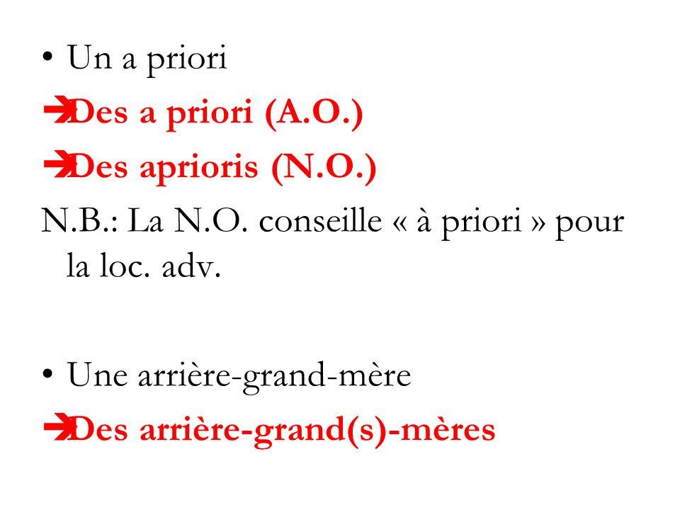 Un a priori Des a priori (A.O.) Des aprioris (N.O.) N.B.: La N.O. conseille « à priori » pour la loc. adv. Une arrière-grand-mère Des arrière-grand(s)
