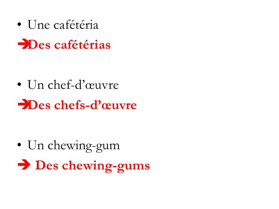 Une cafétéria Des cafétérias Un chef-dœuvre Des chefs-dœuvre Un chewing-gum Des chewing-gums