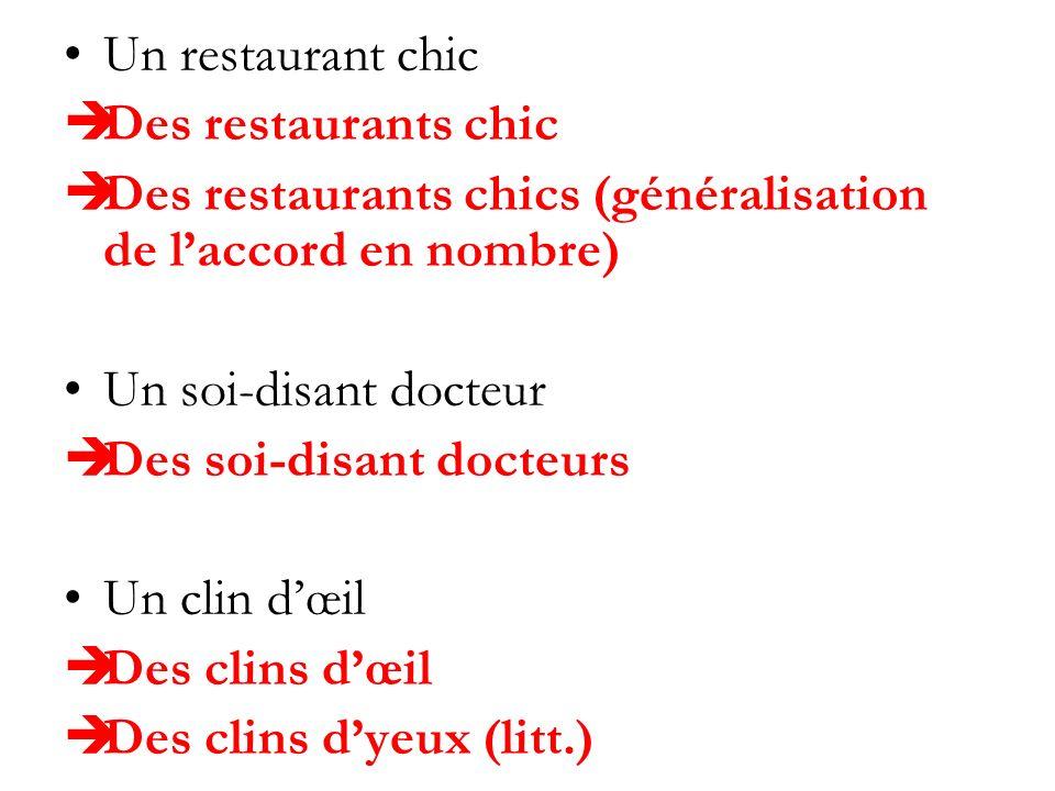 Un restaurant chic Des restaurants chic Des restaurants chics (généralisation de laccord en nombre) Un soi-disant docteur Des soi-disant docteurs Un c