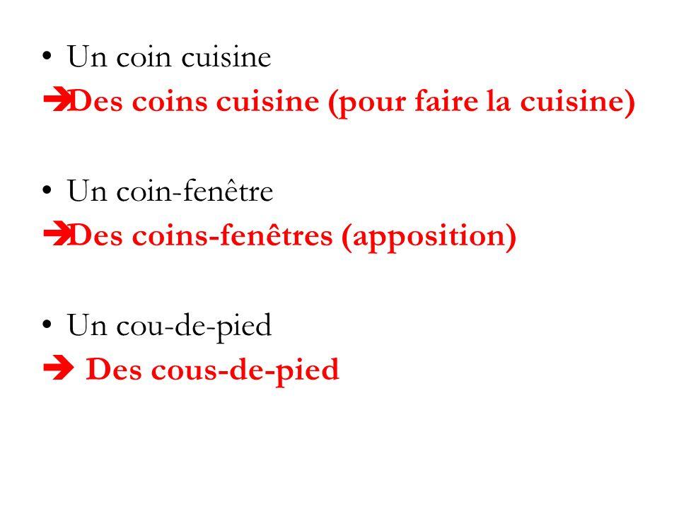 Un coin cuisine Des coins cuisine (pour faire la cuisine) Un coin-fenêtre Des coins-fenêtres (apposition) Un cou-de-pied Des cous-de-pied