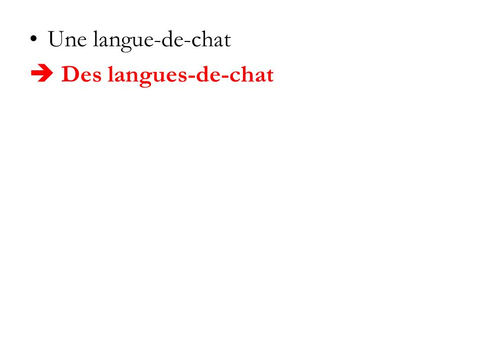 Une langue-de-chat Des langues-de-chat