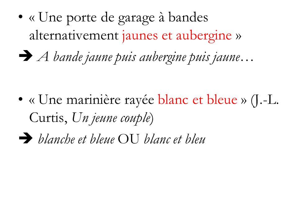 « Une porte de garage à bandes alternativement jaunes et aubergine » A bande jaune puis aubergine puis jaune… « Une marinière rayée blanc et bleue » (