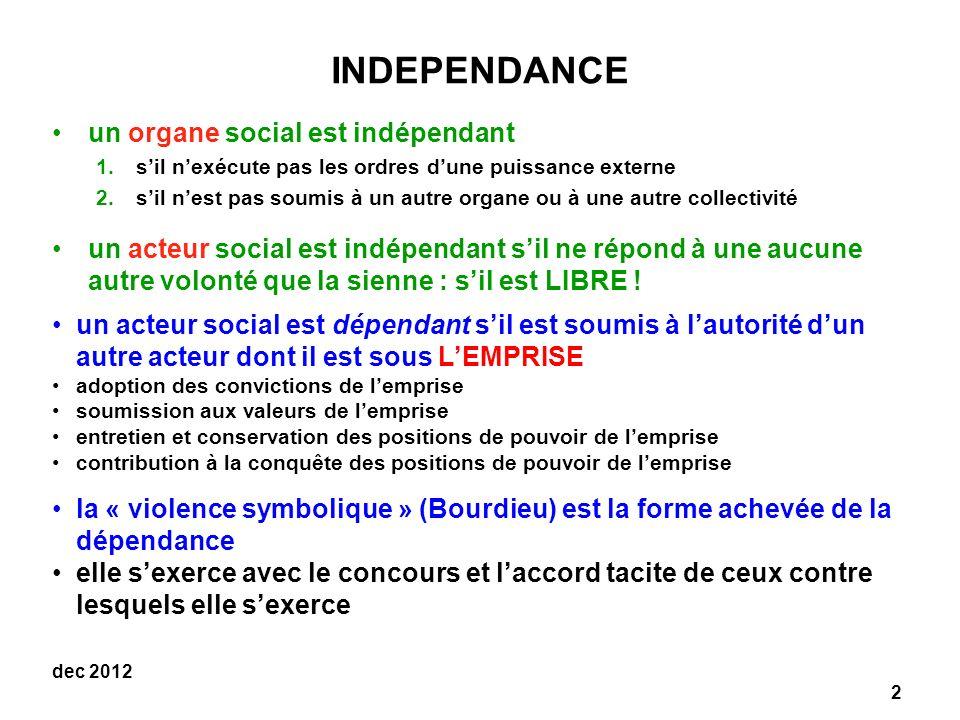 2 dec 2012 INDEPENDANCE un organe social est indépendant 1.