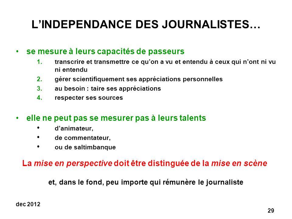 29 dec 2012 LINDEPENDANCE DES JOURNALISTES… se mesure à leurs capacités de passeurs 1.