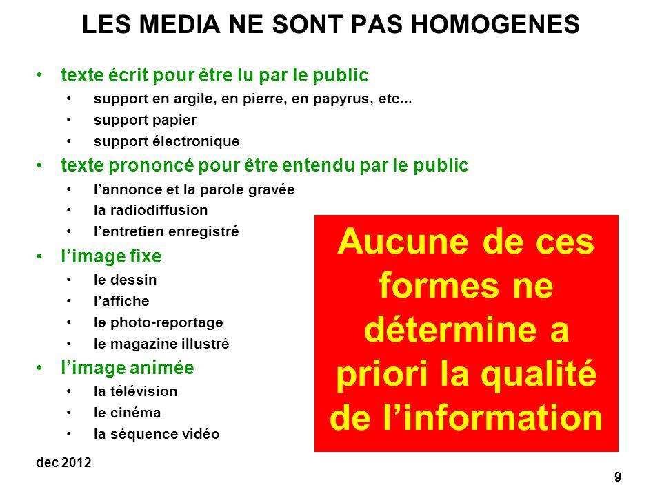 9 dec 2012 LES MEDIA NE SONT PAS HOMOGENES texte écrit pour être lu par le public support en argile, en pierre, en papyrus, etc...