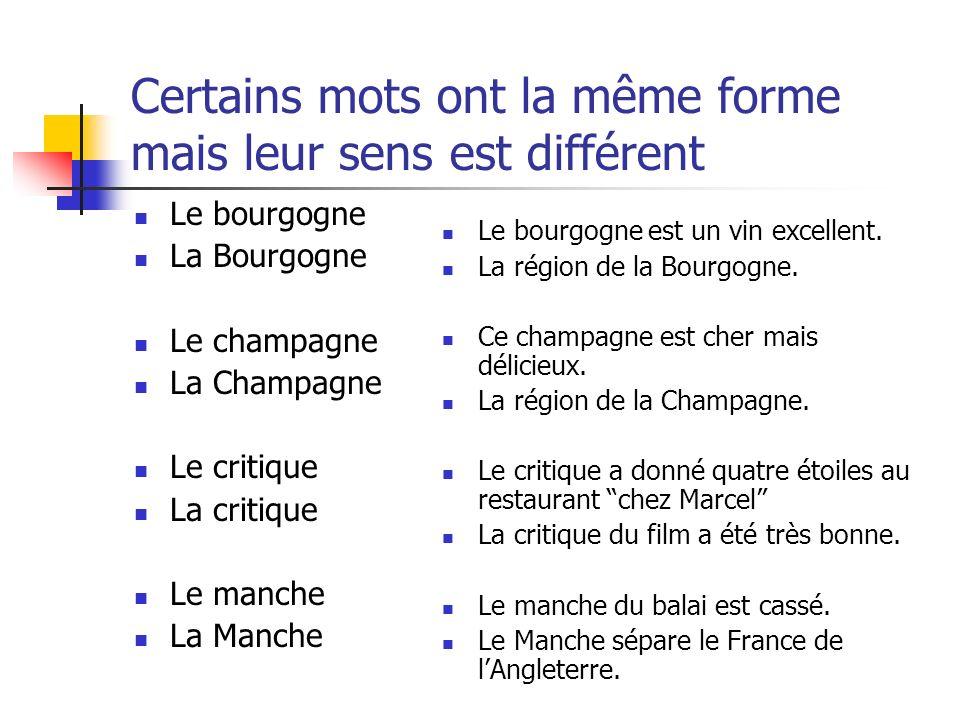 Certains mots ont la même forme mais leur sens est différent Le bourgogne La Bourgogne Le champagne La Champagne Le critique La critique Le manche La