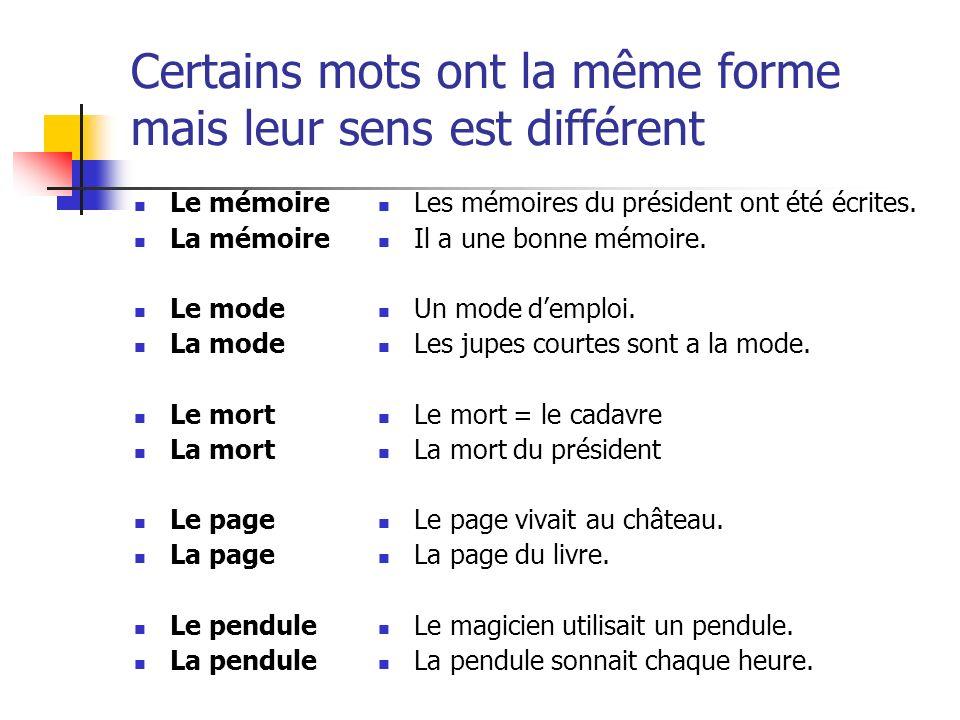 Certains mots ont la même forme mais leur sens est différent Le mémoire La mémoire Le mode La mode Le mort La mort Le page La page Le pendule La pendu