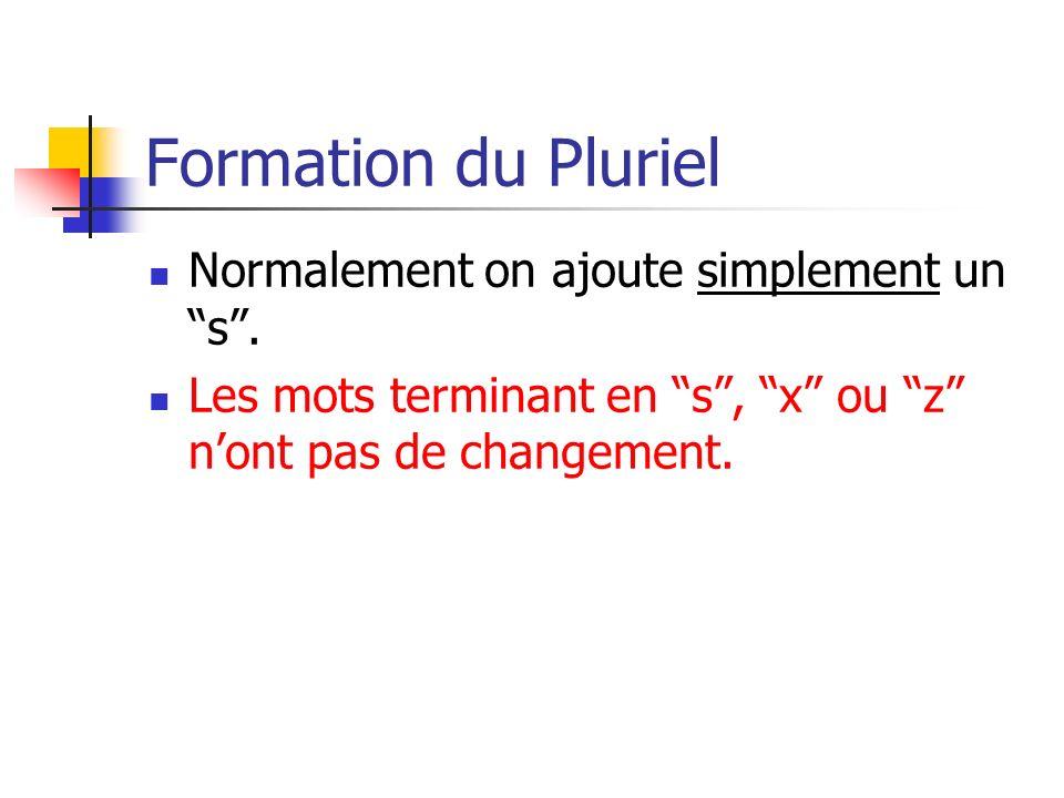Formation du Pluriel Normalement on ajoute simplement un s. Les mots terminant en s, x ou z nont pas de changement.