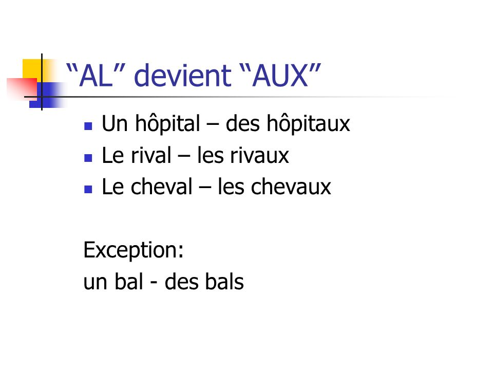 AL devient AUX Un hôpital – des hôpitaux Le rival – les rivaux Le cheval – les chevaux Exception: un bal - des bals