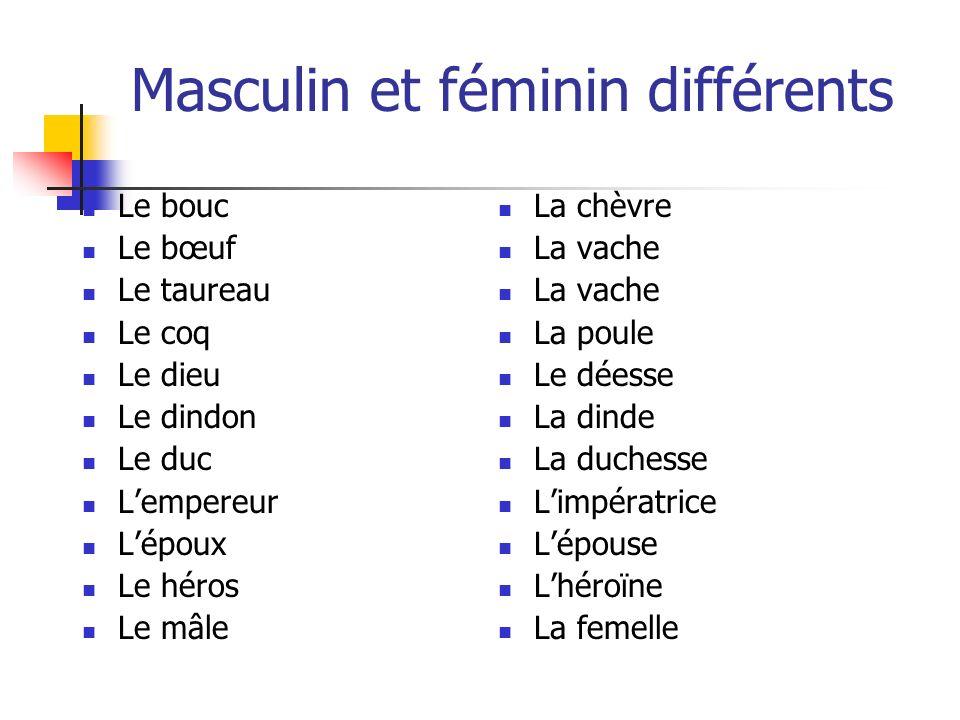 Masculin et féminin différents Le bouc Le bœuf Le taureau Le coq Le dieu Le dindon Le duc Lempereur Lépoux Le héros Le mâle La chèvre La vache La poul