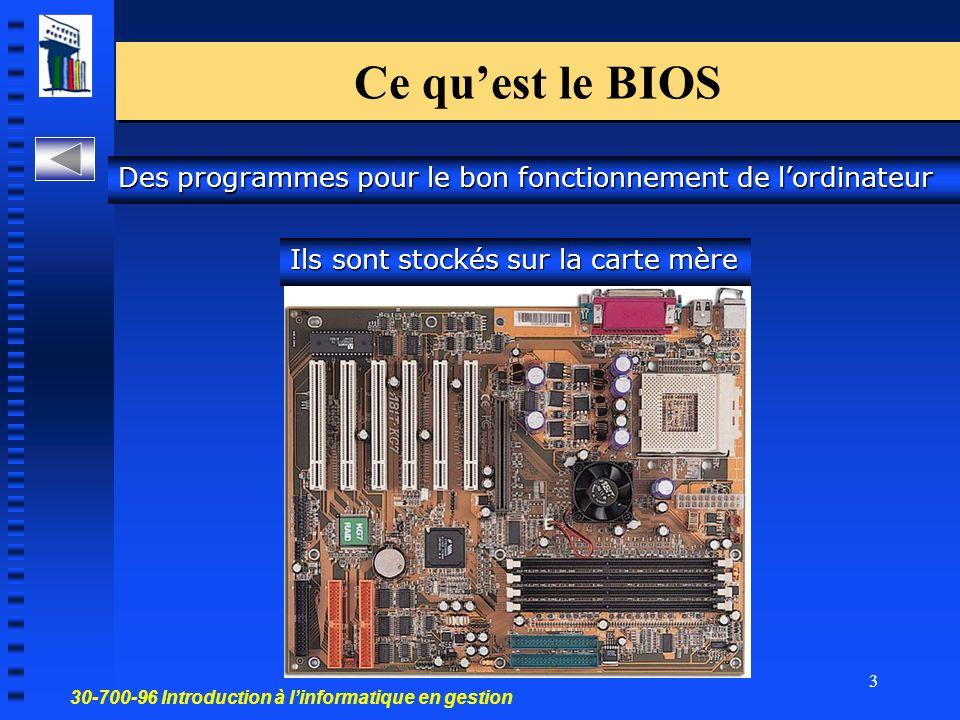30-700-96 Introduction à linformatique en gestion 3 Ce quest le BIOS Des programmes pour le bon fonctionnement de lordinateur Ils sont stockés sur la carte mère