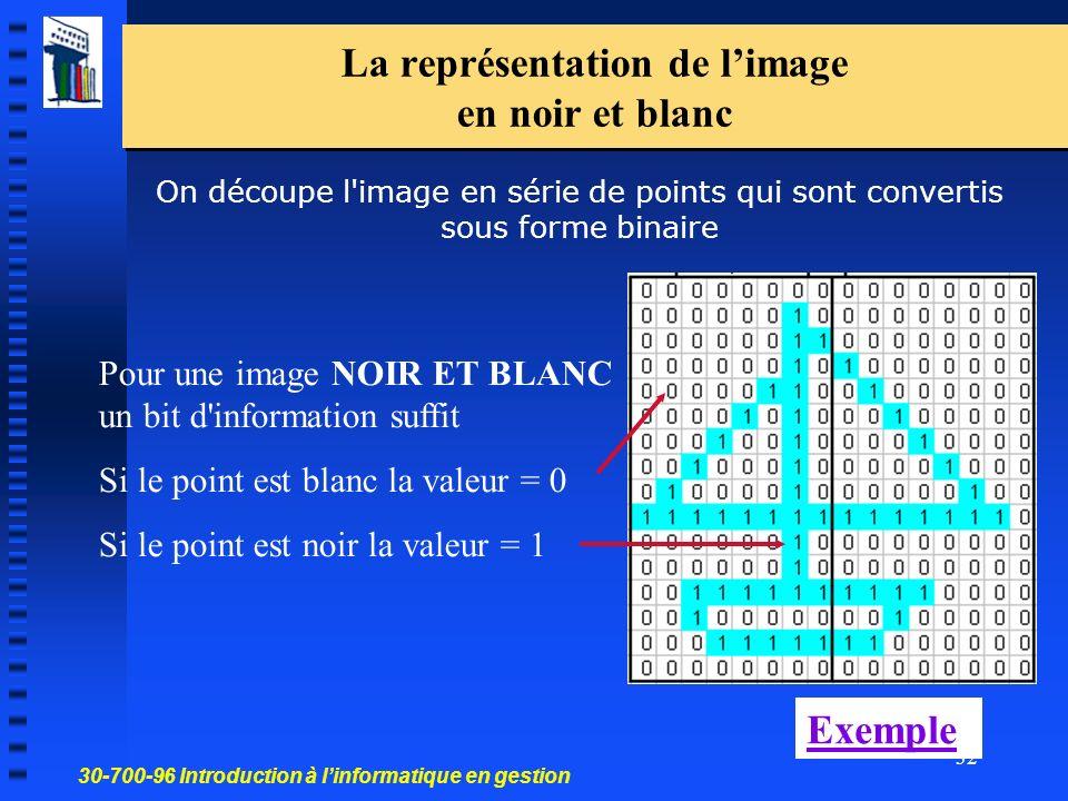 30-700-96 Introduction à linformatique en gestion 32 La représentation de limage en noir et blanc On découpe l image en série de points qui sont convertis sous forme binaire Pour une image NOIR ET BLANC un bit d information suffit Si le point est blanc la valeur = 0 Si le point est noir la valeur = 1 Exemple