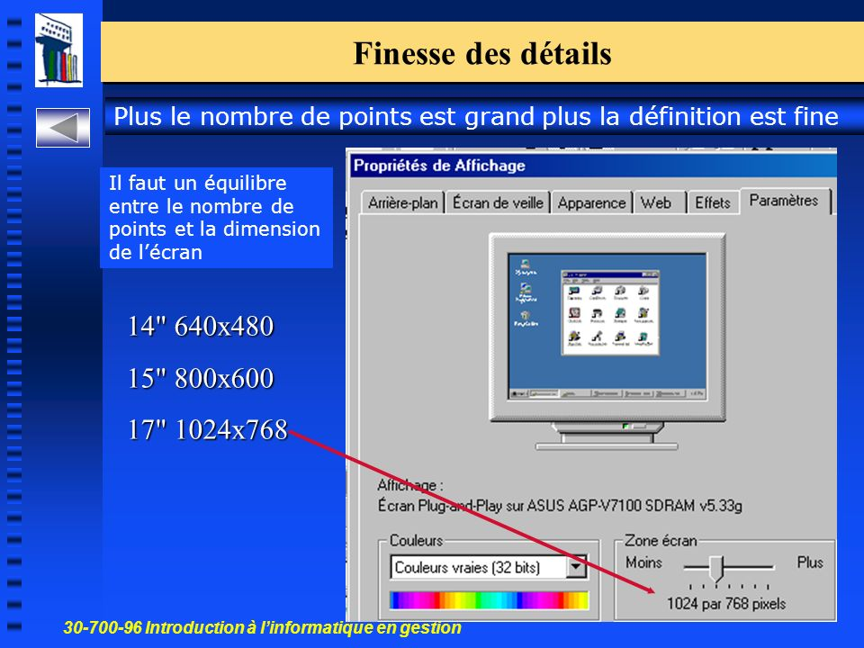 30-700-96 Introduction à linformatique en gestion 37 Finesse des détails 14