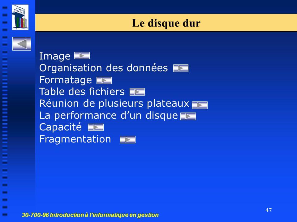 30-700-96 Introduction à linformatique en gestion 47 Le disque dur Image Organisation des données Formatage Table des fichiers Réunion de plusieurs plateaux La performance dun disque Capacité Fragmentation