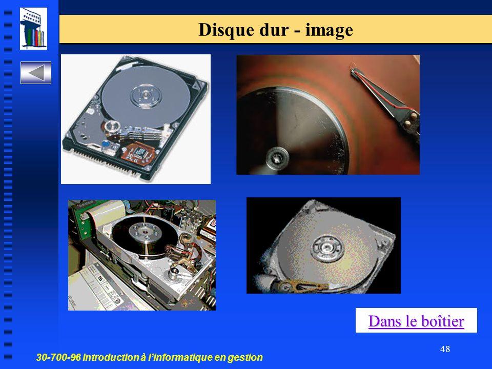 30-700-96 Introduction à linformatique en gestion 48 Disque dur - image Dans le boîtier Dans le boîtier