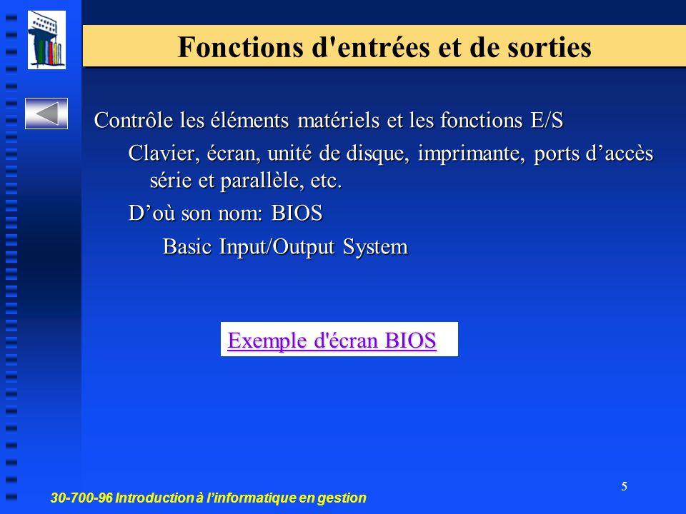 30-700-96 Introduction à linformatique en gestion 5 Fonctions d entrées et de sorties Contrôle les éléments matériels et les fonctions E/S Clavier, écran, unité de disque, imprimante, ports daccès série et parallèle, etc.