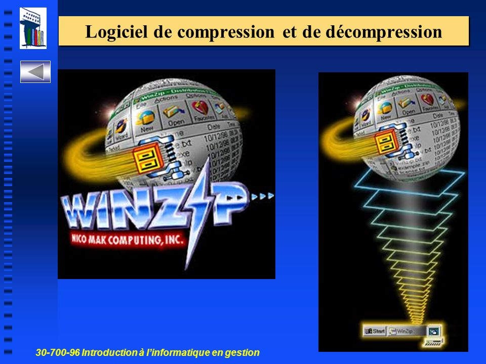 30-700-96 Introduction à linformatique en gestion 67 Logiciel de compression et de décompression