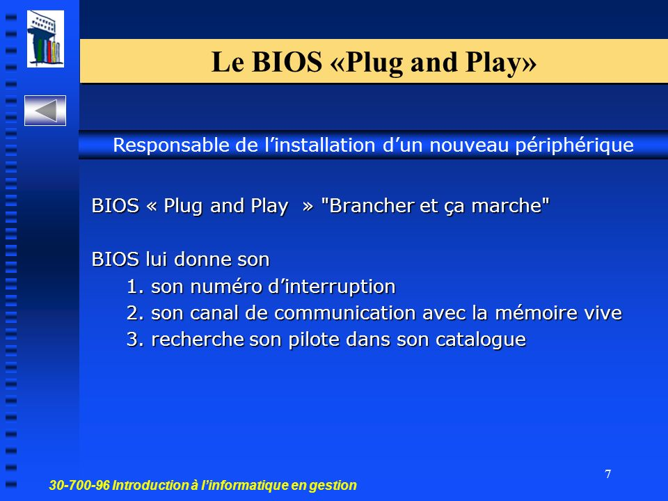 30-700-96 Introduction à linformatique en gestion 7 Le BIOS «Plug and Play» BIOS « Plug and Play »
